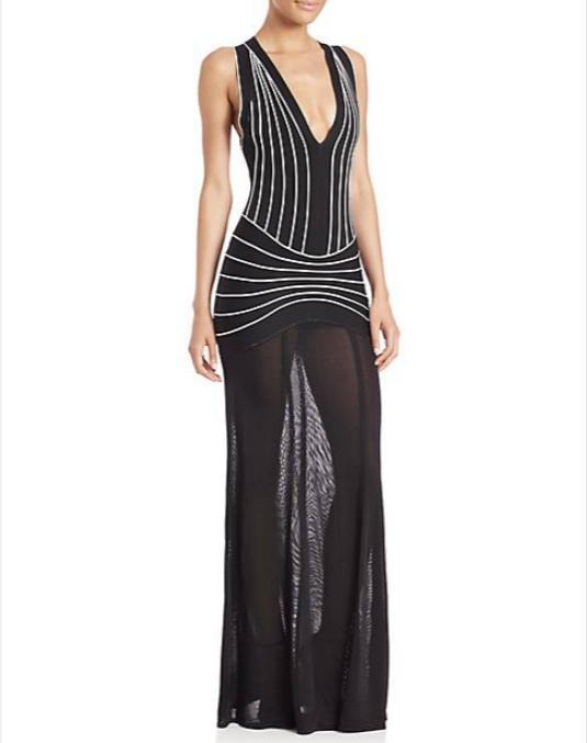 Herve Leger_Vintage Collection_2015-- V-neck Stripe Evening Gown
