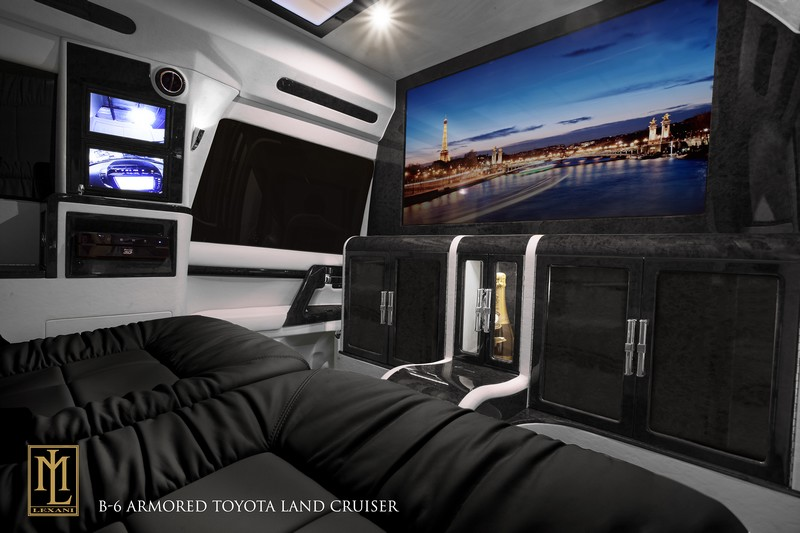 Interior of the NOIR, an armored and luxurious Toyota Land Cruiser Conversion by Lexani Motors