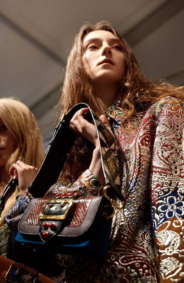 Jacquard styled with The Patchwork bag - textures mix backstage at Burberry