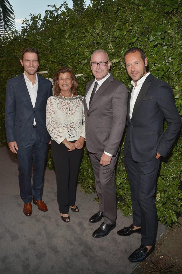 James Ferragamo and Fulvia Visconti Ferragamo with architect William Sofield and creative director Massimiliano Giornetti in Beverly Hills