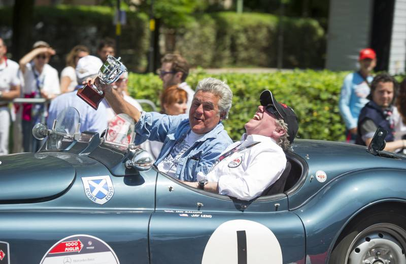 Jay Leno and Ian Callum driving the Jaguar XK 120