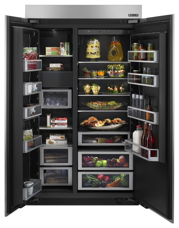 Jenn-Air 48-inch Slide-in Side By Side Refrigerator with Obsidian Interior