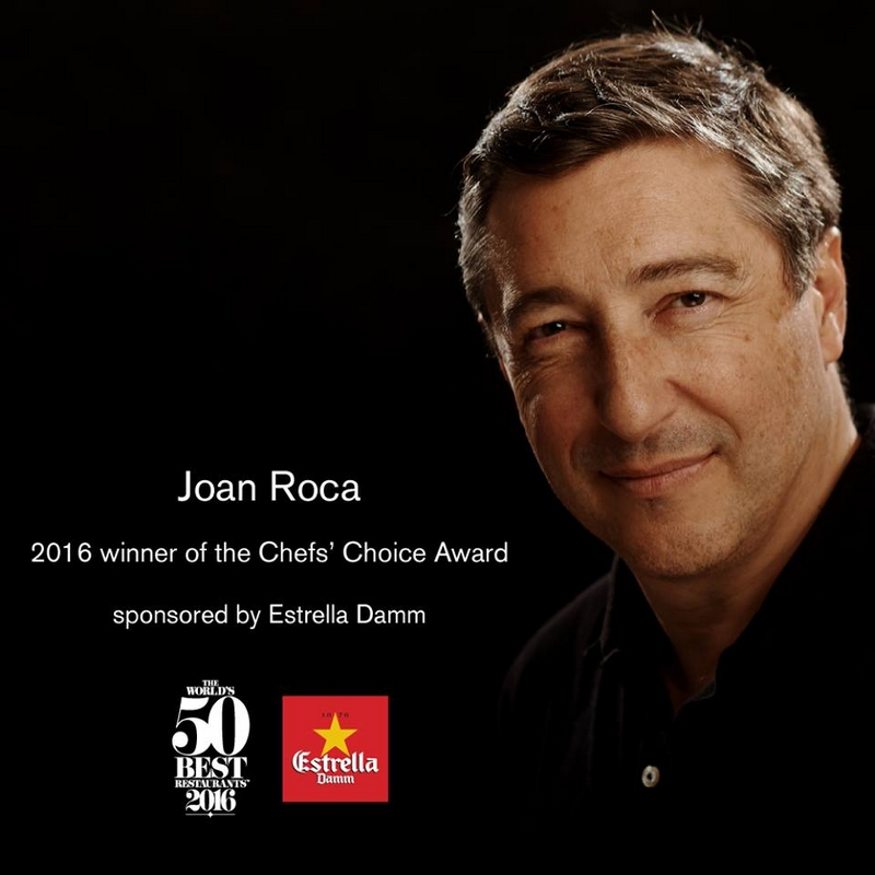Joan Roca has been selected by his peers to win the Chefs' Choice Award 2016
