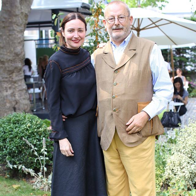 Judith Clark and Patrick-Louis Vuitton at the garden party of the family house in Asnières