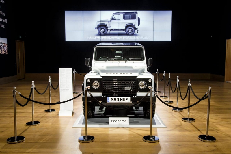 Land Rover Defender 2,000,000 was sold for £400,000 at prestigious charity auction at Bonhams