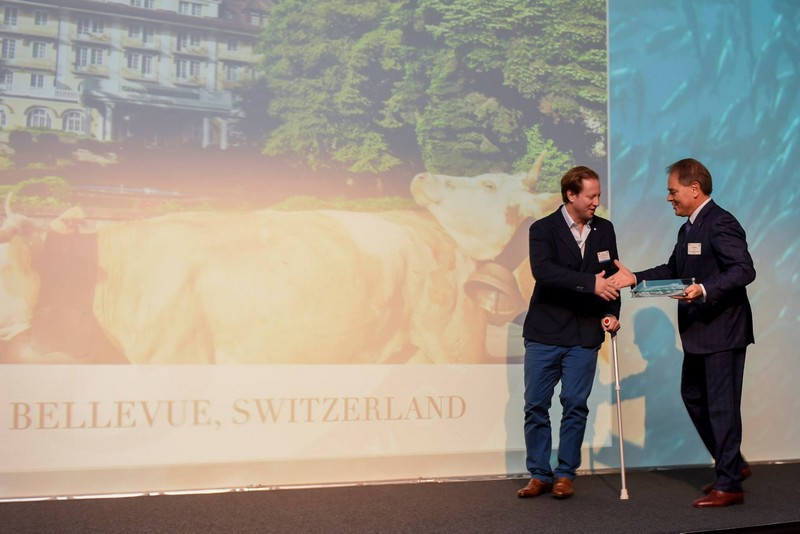 Le Grand Bellevue - Gstaad in Switzerland -SLH Awards 2015-Best Hotel Photograph-Daniel Koetser, Owner and GM with CEO for SLH, Filip Boyen