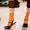 Leather clogs worn with silk jacquard socks from the Prada SpringSummer 2015 fashion show.