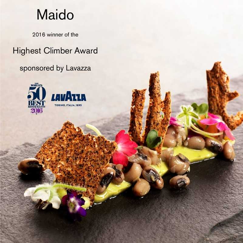 Maido in Lima makes the leap from 44 to 13, earning it the Highest Climber Award, sponsored by Lavazza -2016