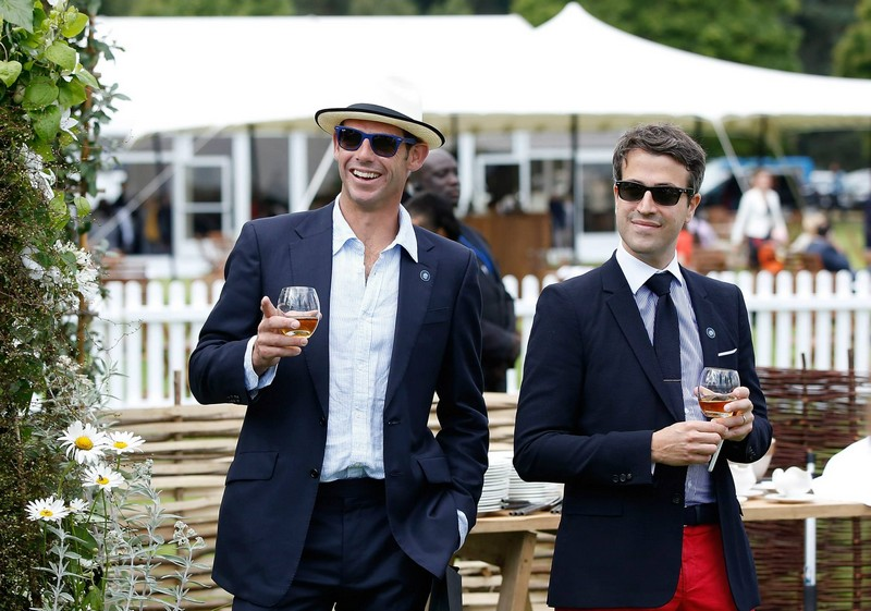 Malcolm Borwick and Jacques-Henri Brive (R) attend The Royal Salute Coronation Cup at Guards Polo Club in Windsor Great Park on July 25, 2015