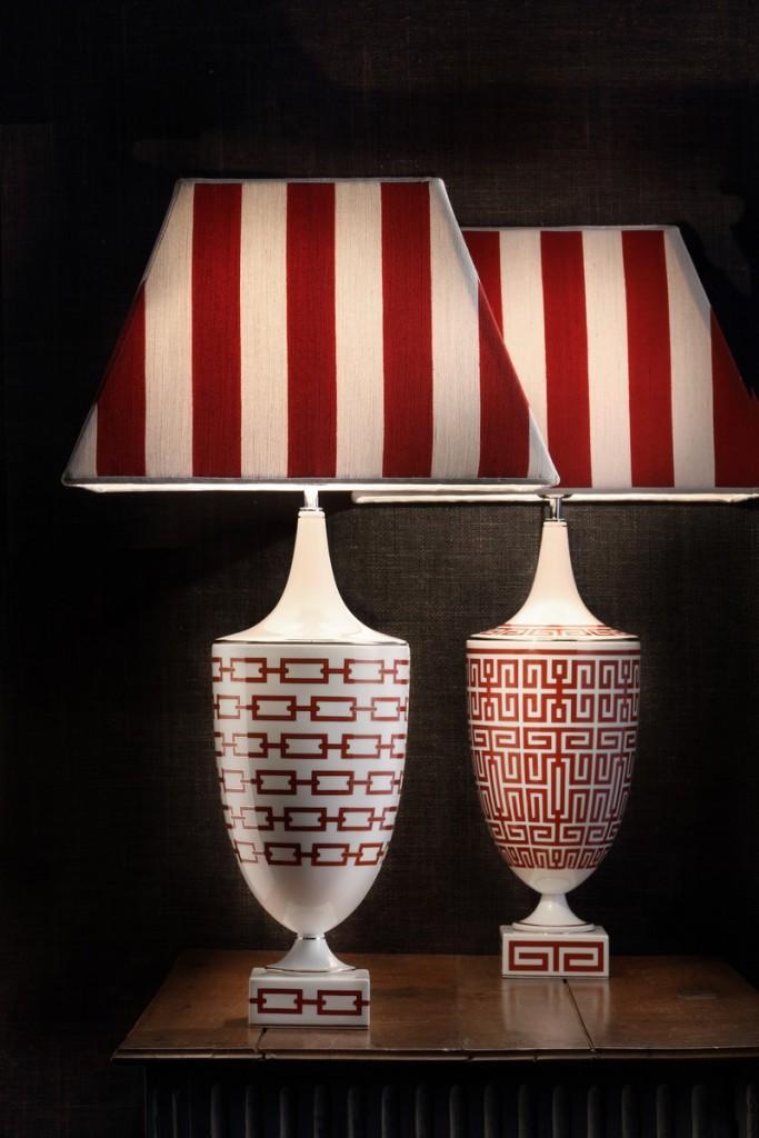Manifattura Richard Ginori at Salone del Mobile 2016-table-lamps-catene-and-labirinto-in-scarlatto