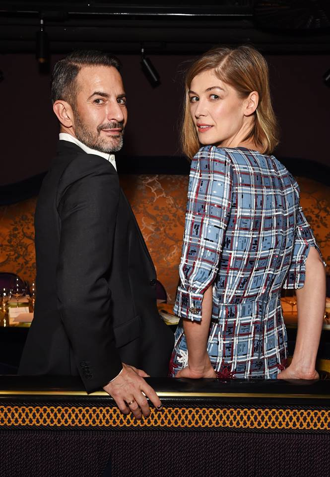 Marc Jacobs and Rosamund Pike at the Marc Beauty x Harrods dinner