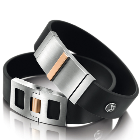 Meister - Bracelet with titanium, red gold and rubber