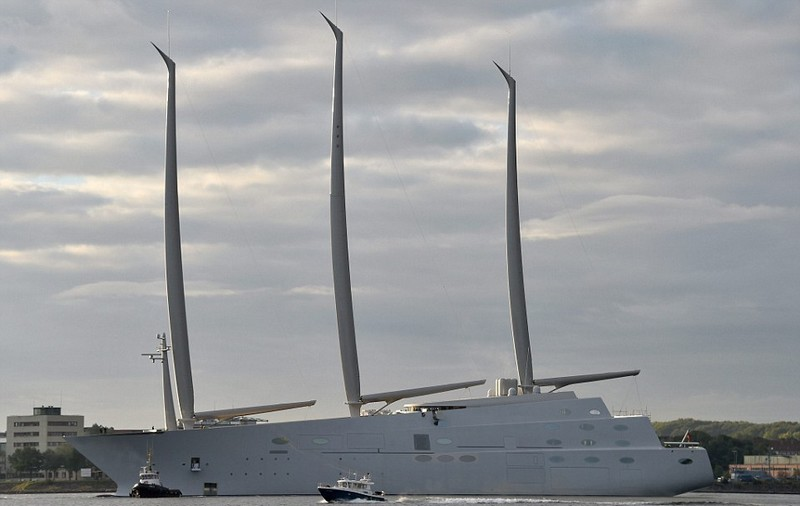 Melnichenko's epic Sailing Yacht A' , the world's biggest sailing ship, set on its maiden sail