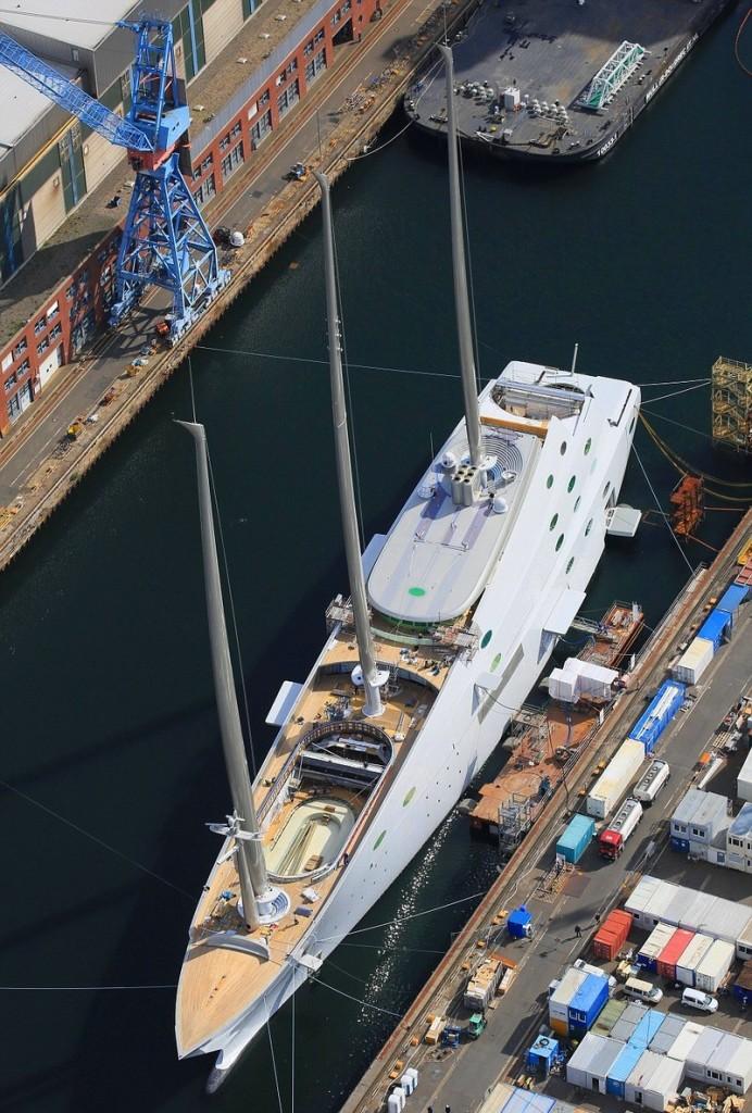 Melnichenko's epic Sailing Yacht A' , the world's biggest sailing ship, set on its maiden sail02015