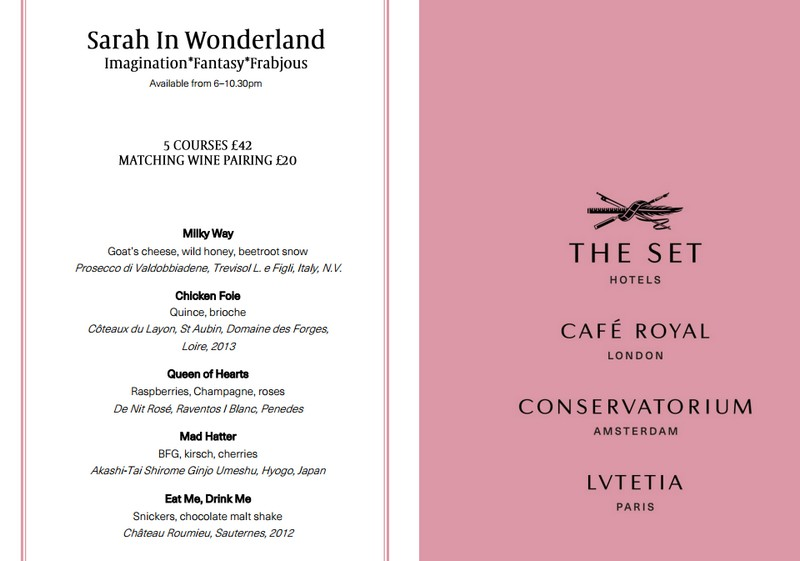 Menu sample - Café Royal on Regent Street dessert restaurant in London