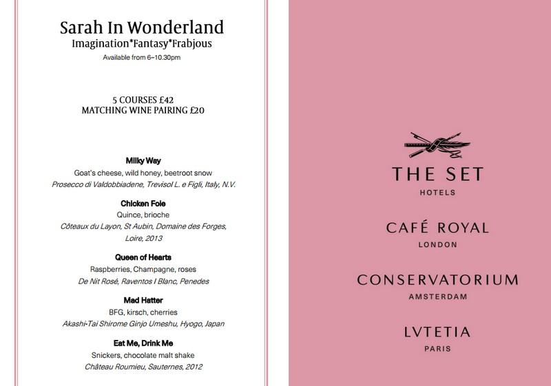 Menu sample - Café Royal on Regent Street dessert restaurant in London