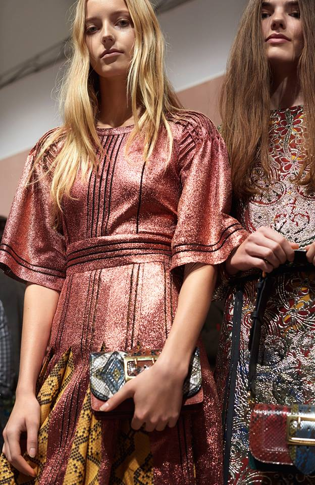 Metallic lamé, panelling and patchwork backstage at the Burberry show
