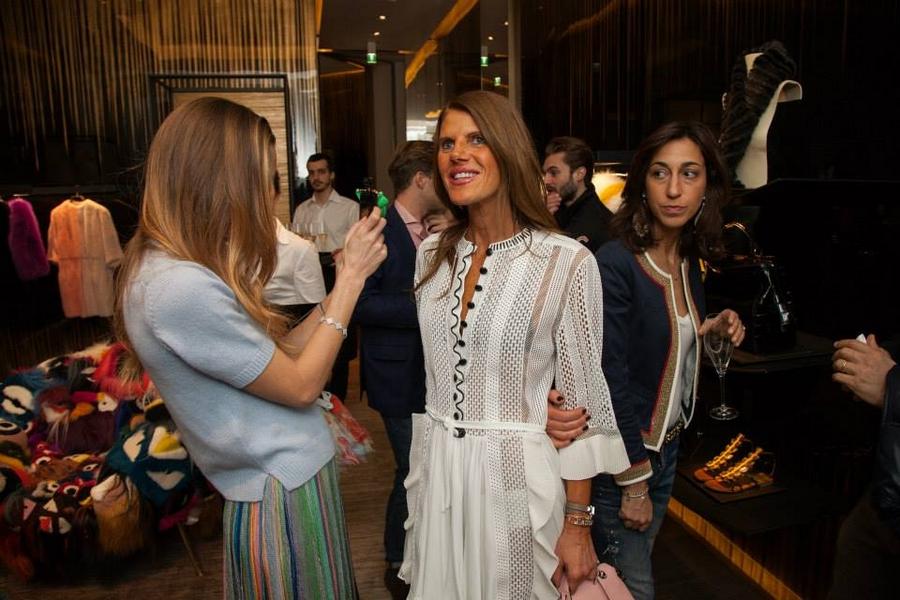 Micol Sabbadini and Anna Dello Russo at the Fendi boutique event during Milan Design Week