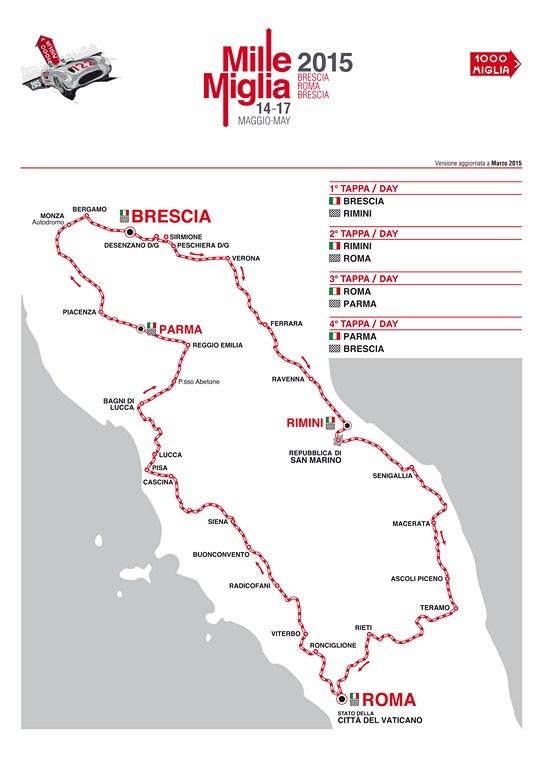 Mile Miglia 2015 - the route