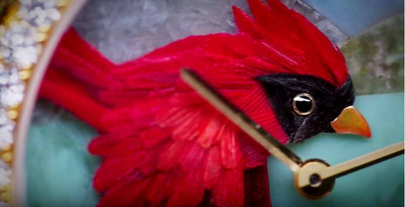 Miniature Feather Art by Van Cleef & Arpels--red dial