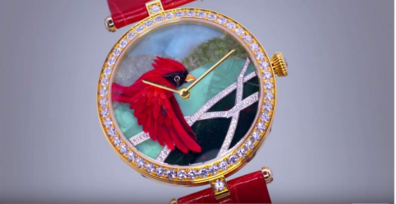 Miniature Feather Art by Van Cleef & Arpels--red