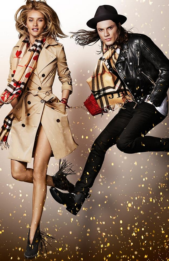 Model Rosie Huntington-Whiteley and musician James Bay star in the Burberry 2015 festive campaign