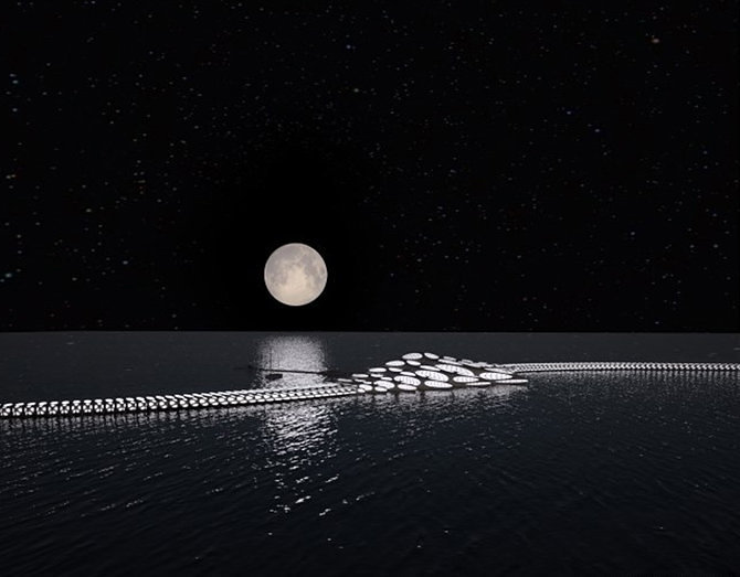 Morphotel changes shape to surf the ocean--by night
