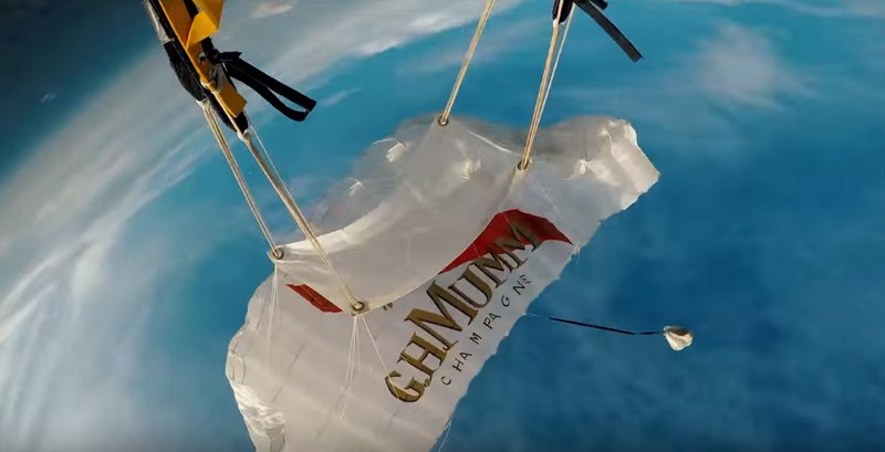 Mumm Grand Cordon. One of the most daring deliveries of a champagne bottle ever