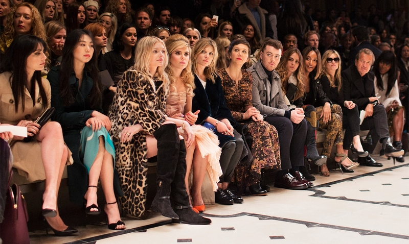 Naomi Campbell, Mario Testino, Kate Moss, Jourdan Dunn, Cara Delevingne, Sam Smith, Maggie Gyllenhaal, Paloma Faith, Lily Donaldson and more on the Burberry front row