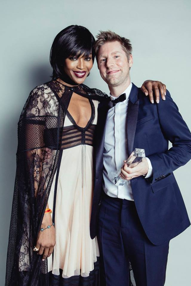 Naomi Campbell with Christopher Bailey for Burberry - winner of the Creative Campaign Award