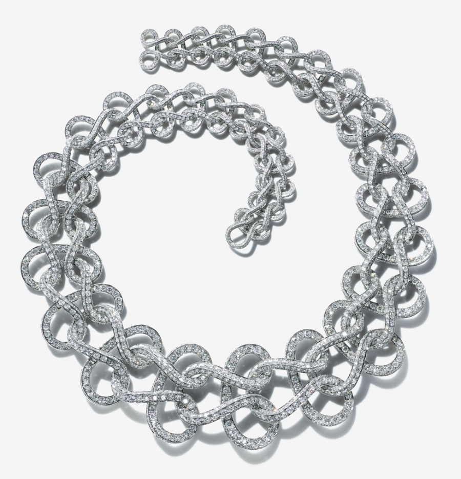 Necklace of diamonds in a wave pattern inspired by an archival watch chain from the 2015 Blue Book Collection.