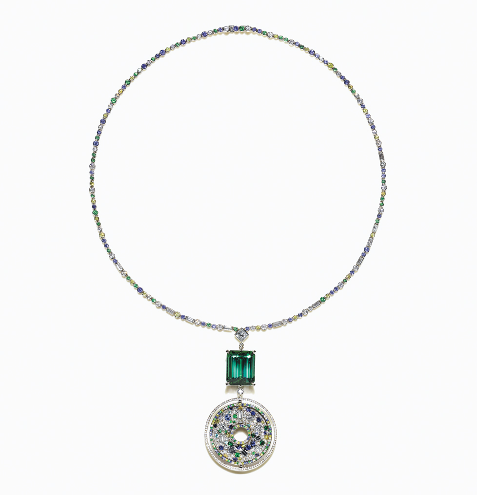 Necklace with a 19.44-carat emerald-cut green tourmaline, diamonds, sapphires and tsavorites from the 2015 Blue Book Collection.