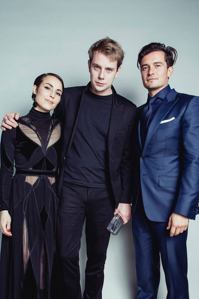 Noomi Rapace & Orlando Bloom with J.W. Anderson - winner of both the Menswear & Womenswear Awards