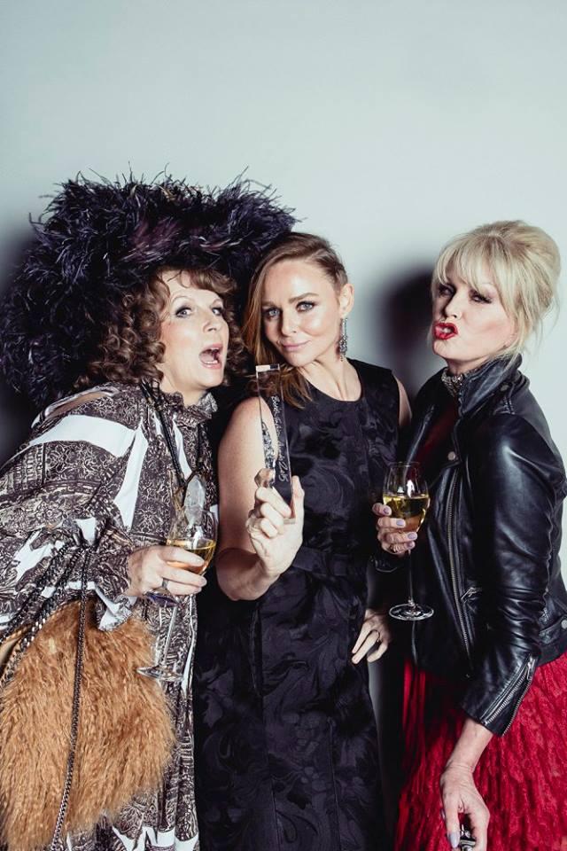 Patsy & Eddie with Stella McCartney - winner of the Brand of the Year Award