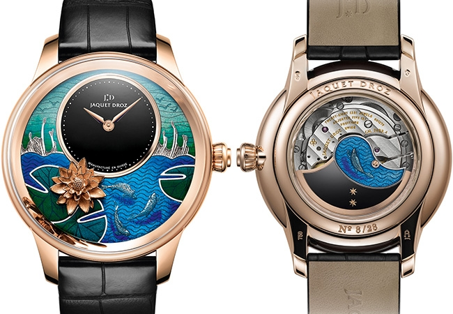 Petite Heure Minute Relief Carps watch by Jacquet caseDroz- face and