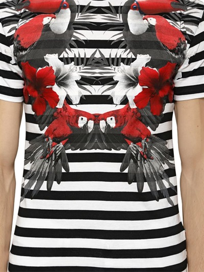 Philip plein TOUCAN PRINTED STRIPED COTTON T-SHIRT-