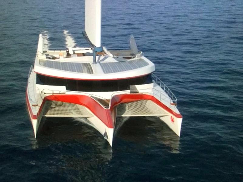 Pi Super Yachts Carbon free Dragonship 25 Luxury Super Trimaran wirh Hydrogenisis Blue Box