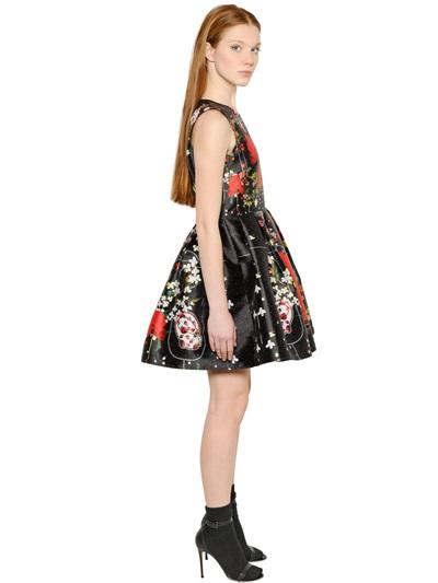 Piccione Piccione PRINTED SATIN DUCHESSE DRESS