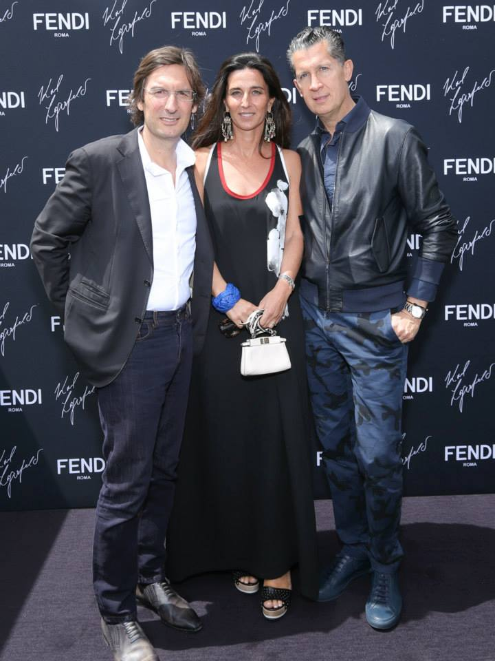 Pietro and Elisabetta Beccari with Stefano Tonchi at the 'Fendi by Karl Lagerfeld' book presentation in Cannes