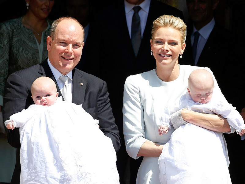 Prince Albert II of Monaco with Princess Charlene and their twins