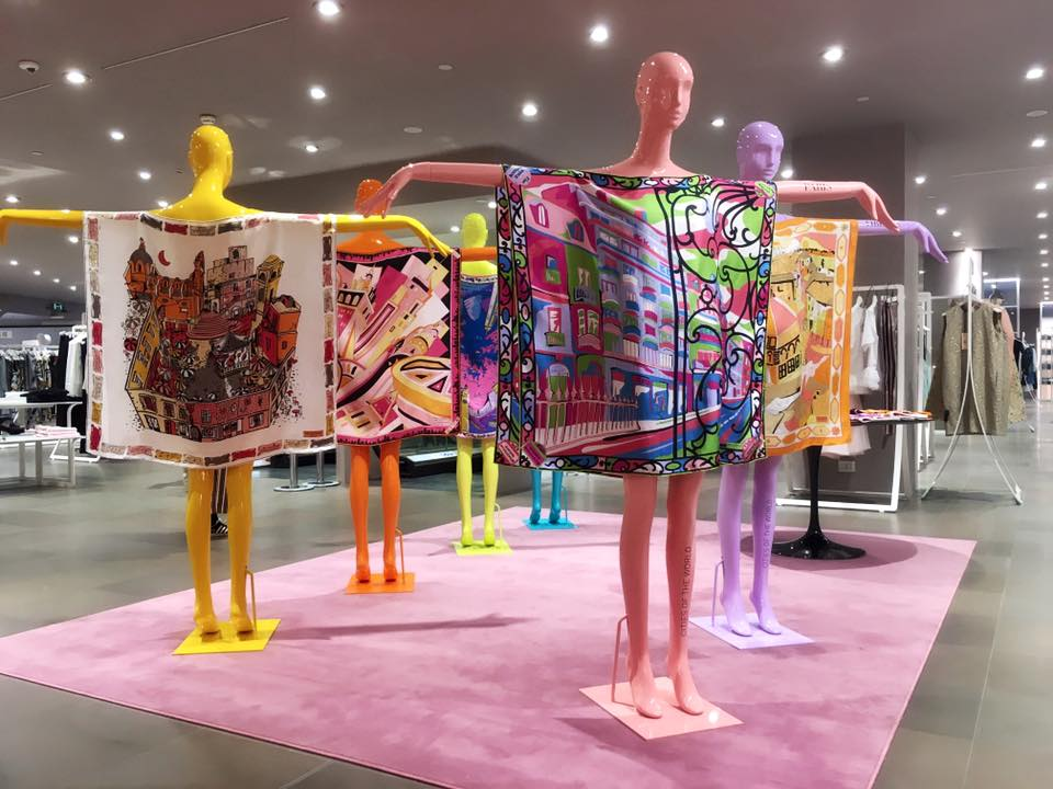 Pucci City of the World scarves-pop-up in Milan