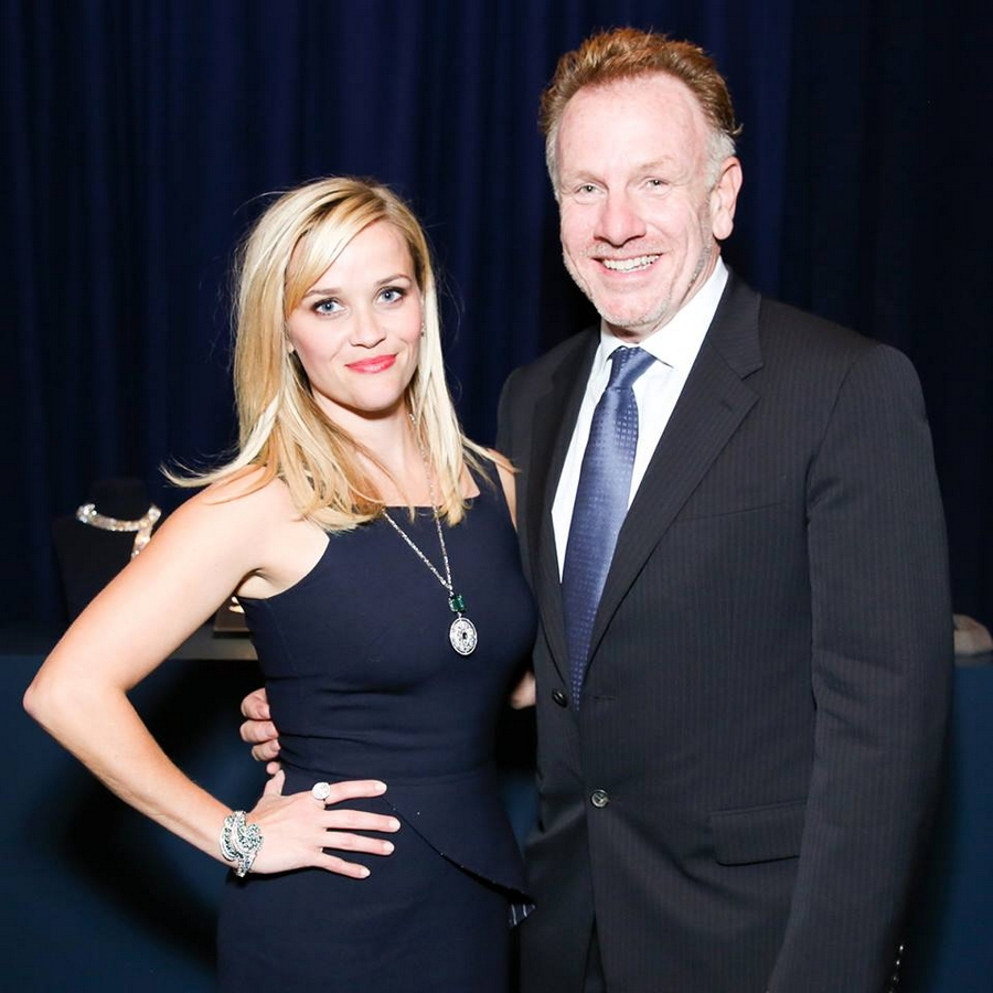 Reese Witherspoon with artist Jack Pierson at last night's 2015 Blue Book dinner in New York