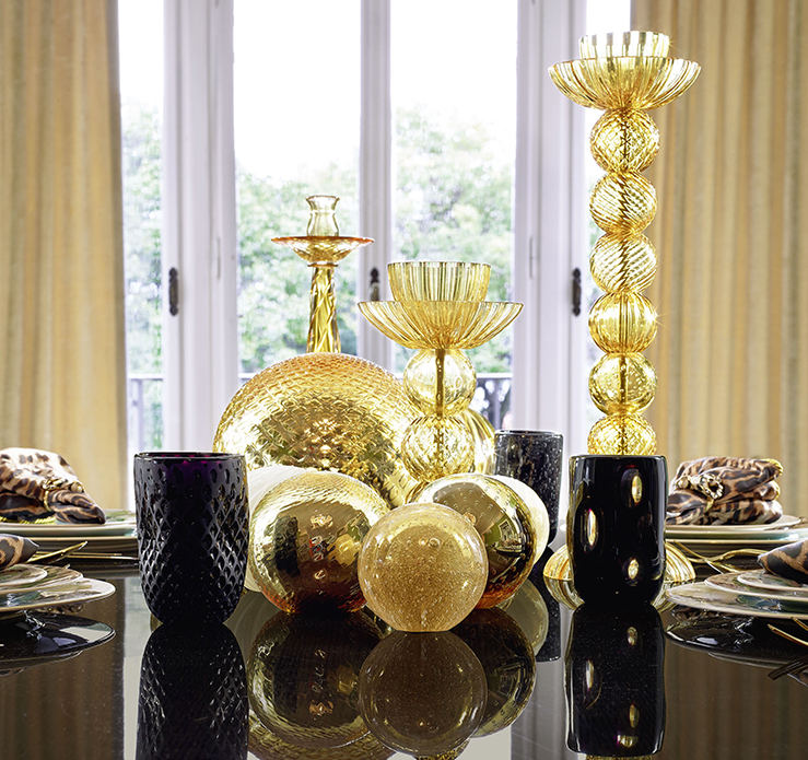 Roberto Cavalli Home Interiors at Salone del Mobile 2016-luxury murano glass