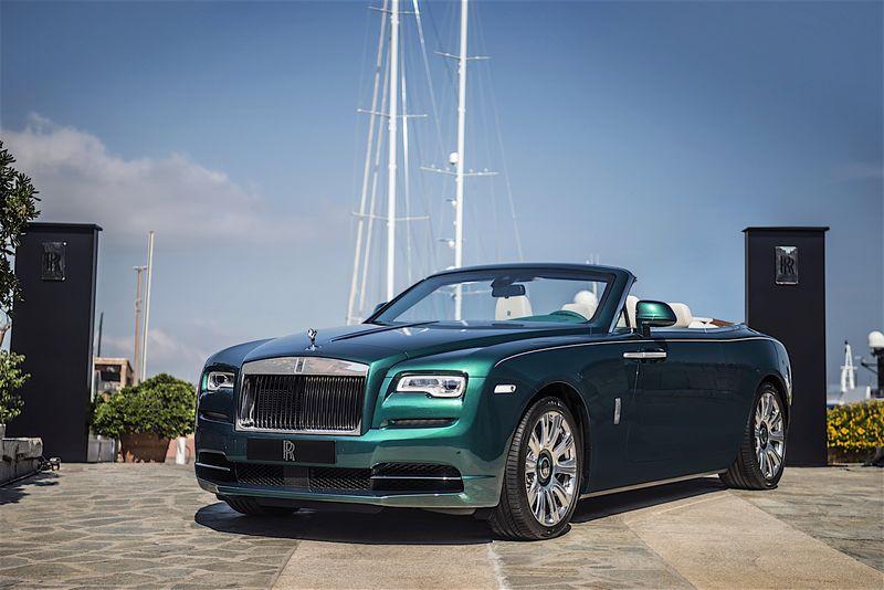 Rolls Royce emerald embellished Dawn and Wraith inspired by Porto Cervo
