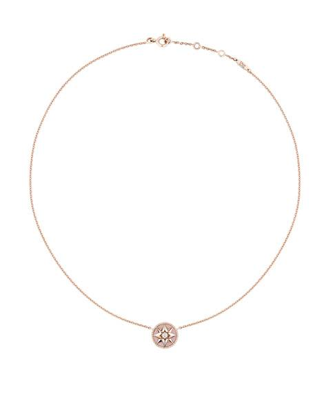 Rose des vents necklace in pink gold with diamond and pink opal, £1,300, Dior Joaillerie