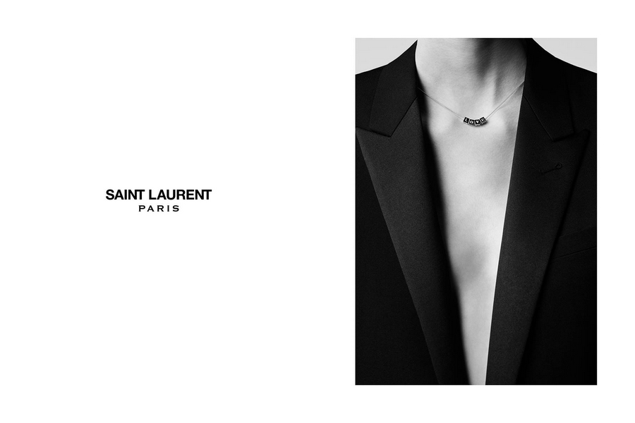 SAINT LAURENT CUBE LOVE NECKLACE IN GOLD-TONED BRASS