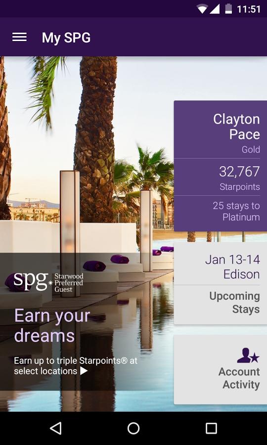 SPG Starwood Hotels and Resorts app-