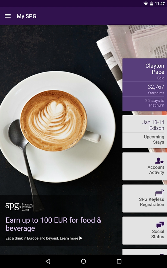 SPG Starwood Hotels and Resorts app
