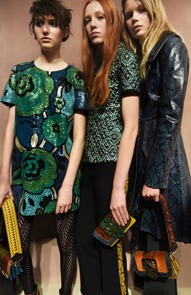 Sequins, jacquard and glossy leather line up backstage at the Burberry show
