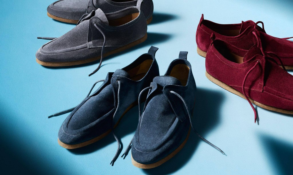 Spring - Summer shoes for men textured suede in navy, deep burgundy and light blue